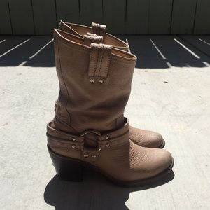 Frye 7.5 Tan Leather Harness Stacked Heel Boots